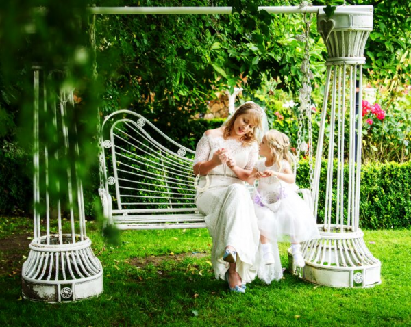Bride and Girl on Swing